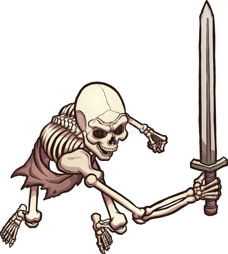 skeleton warrior stock vector illustration of clip gradient 96059227 rh dreamstime com simple skeleton clipart