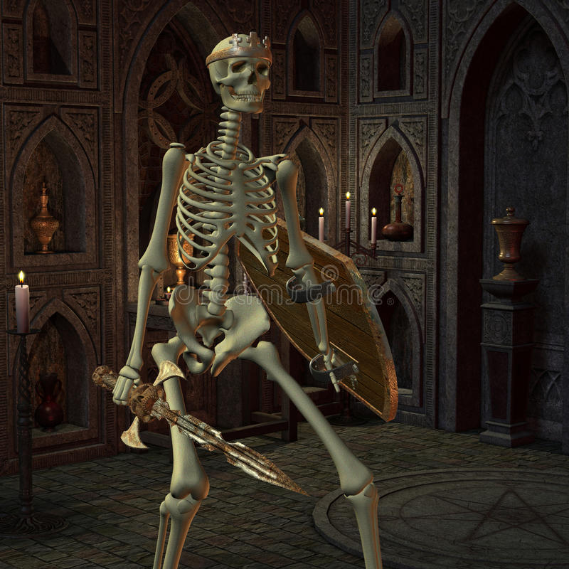 Download Skeleton Warriors In The Altar Room Stock Illustration - Image: 29366671