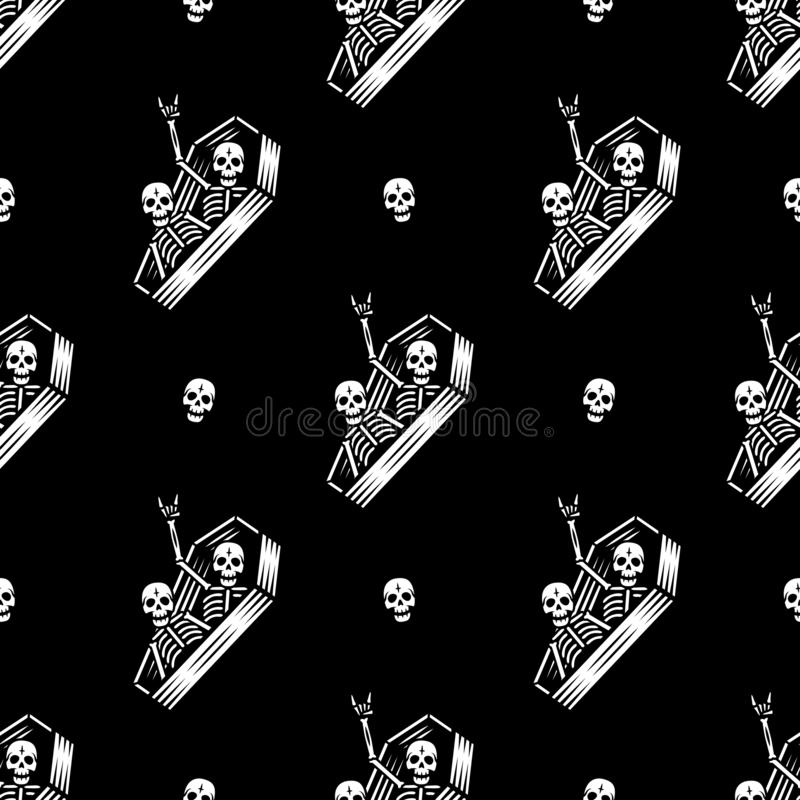 SKELETONS IN COFFIN PARTY SEAMLESS PATTERN BLACK royalty free illustration