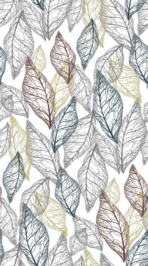 Skeletons of leaves of different light colors on a dark gray background, seamless vector pattern. Skeletons of leaves of different colors like yellow, gray, blue vector illustration