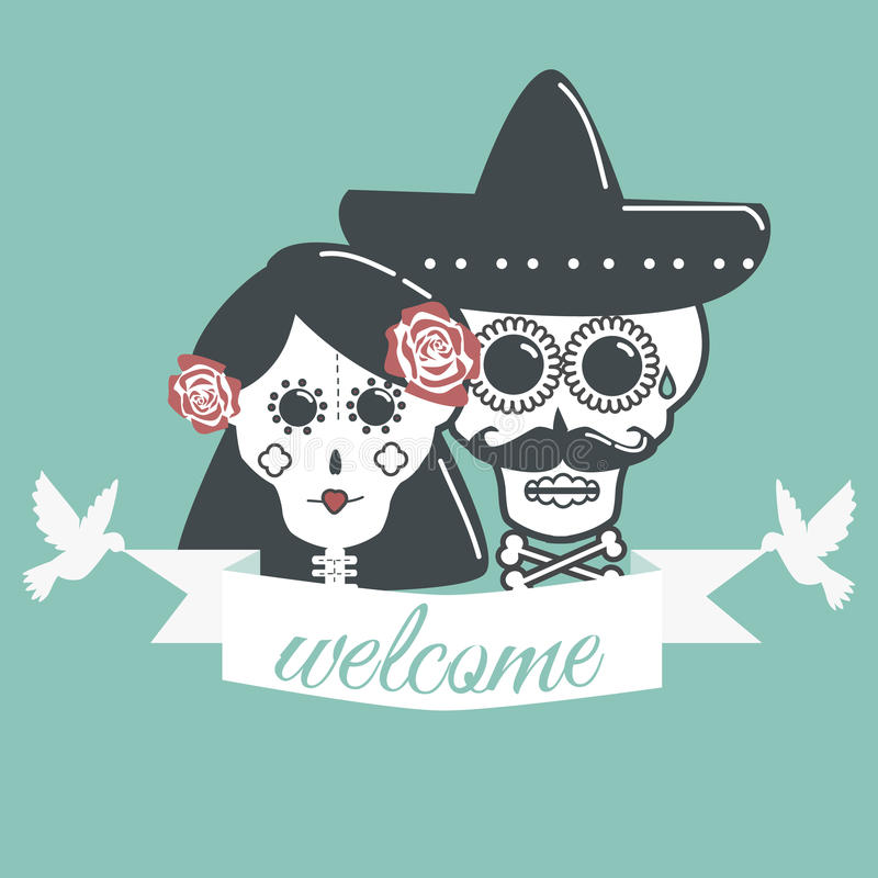 Skeletons wedding with ribbon or tape welcome and dove. royalty free illustration