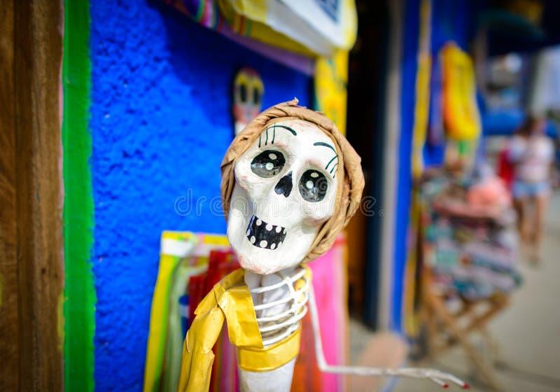 Skeletpop op de dag van de doden, Mexico royalty-vrije stock afbeeldingen