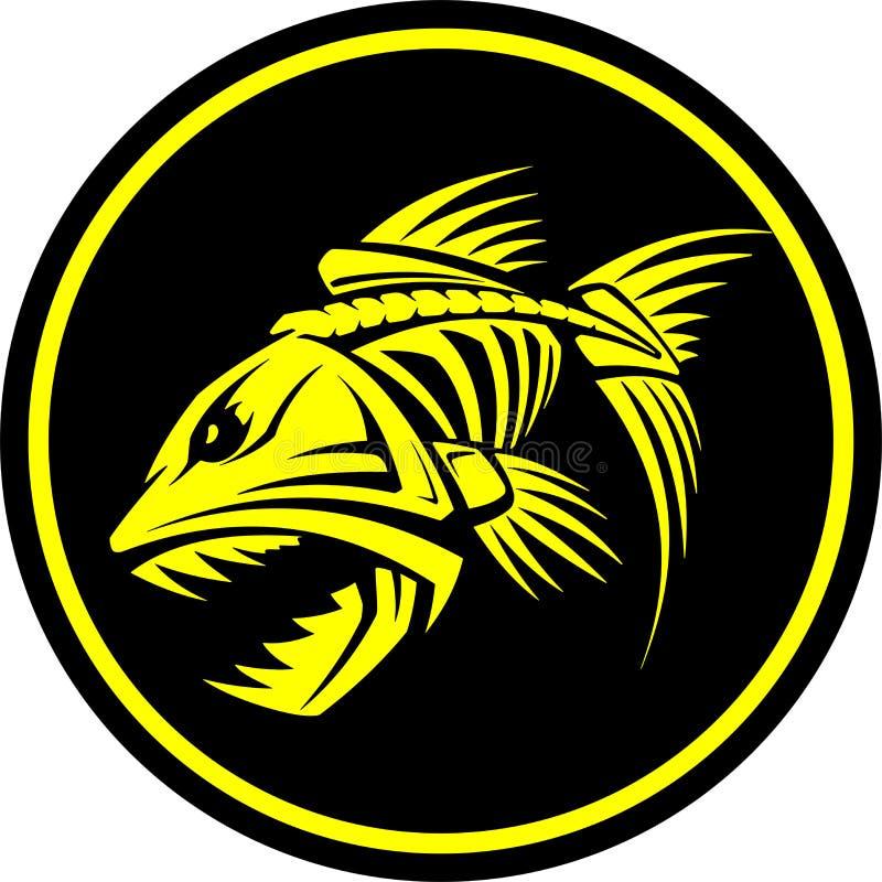 Skelett- av ondo fisk med tandvektorillustrationen royaltyfria bilder