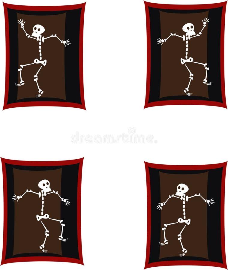 Skelett- dans stock illustrationer