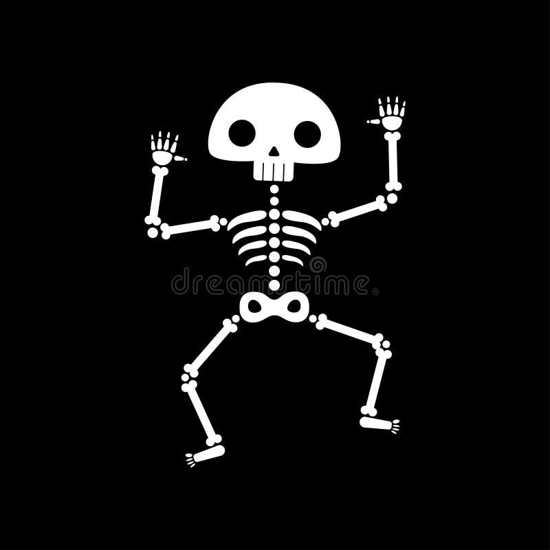 Skelett- dans Rolig dansskelettillustration royaltyfri illustrationer