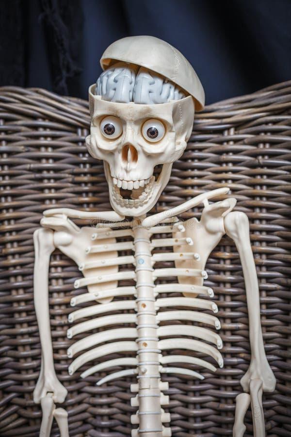 Skelett, das in einem geflochtenen Stuhl sitzt stockfotografie