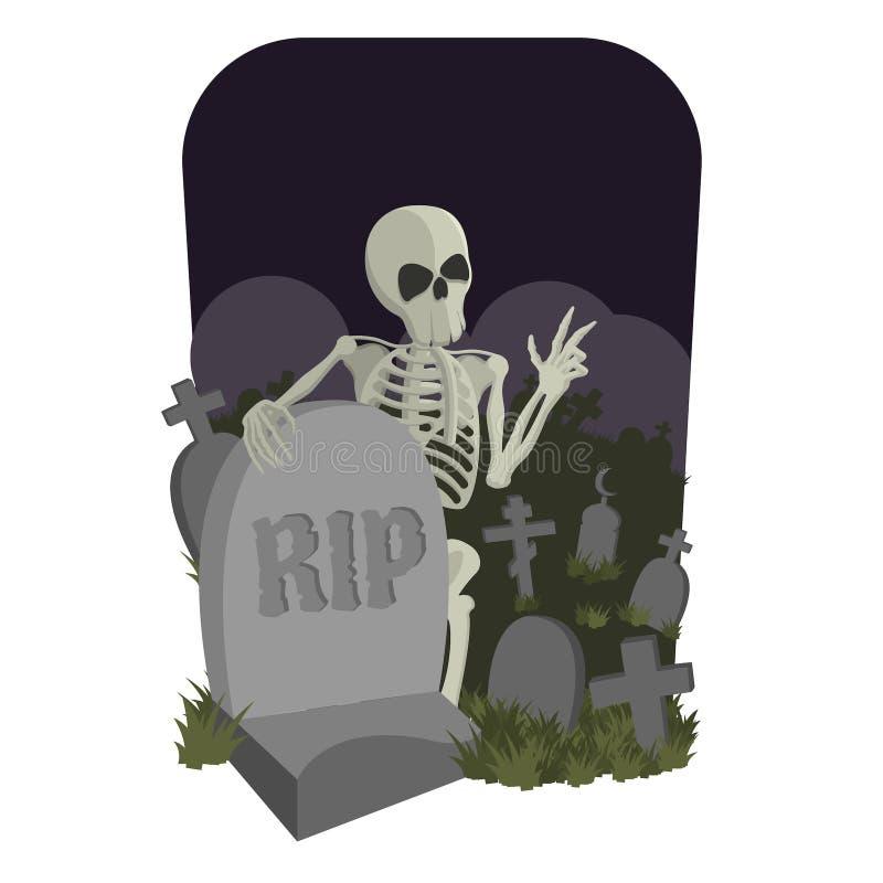 Skelett in einem Kirchhof stock abbildung