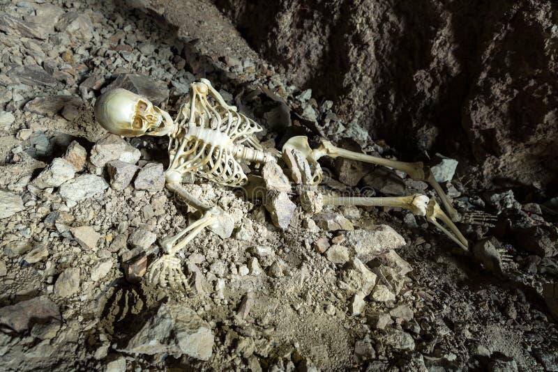 Skelett in einer dunklen Höhle im Boden, der auf Felsen liegt stockbild