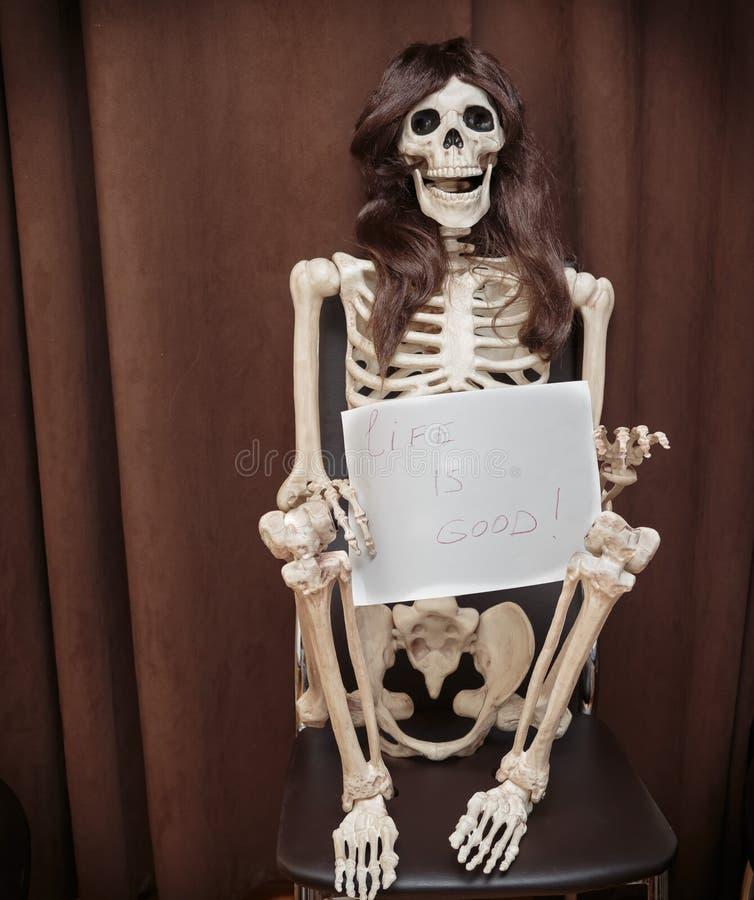 skelett in einer per cke die auf dem stuhl sitzt und papier mit schriftlicher mitteilung h lt. Black Bedroom Furniture Sets. Home Design Ideas
