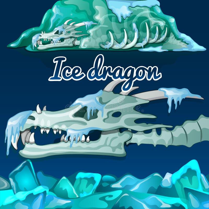 Skelett eines Drachen, der im Eis eingefroren wurde lizenzfreie abbildung