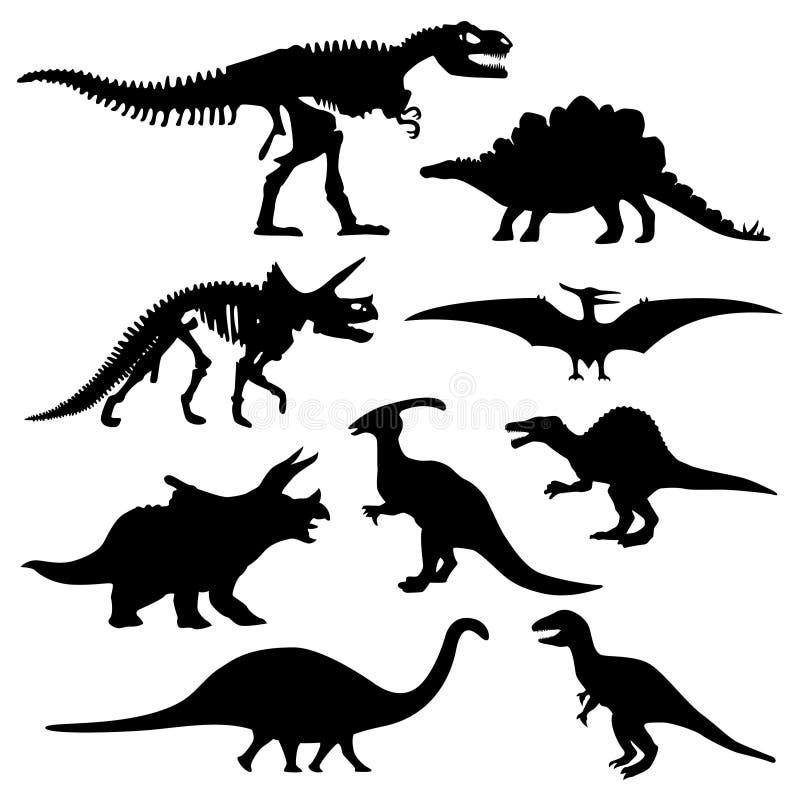 skelett för silhouette för bendinosaur förhistoriskt vektor illustrationer