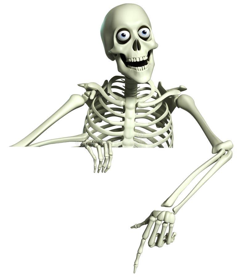 skelett för tecknad film 3d stock illustrationer