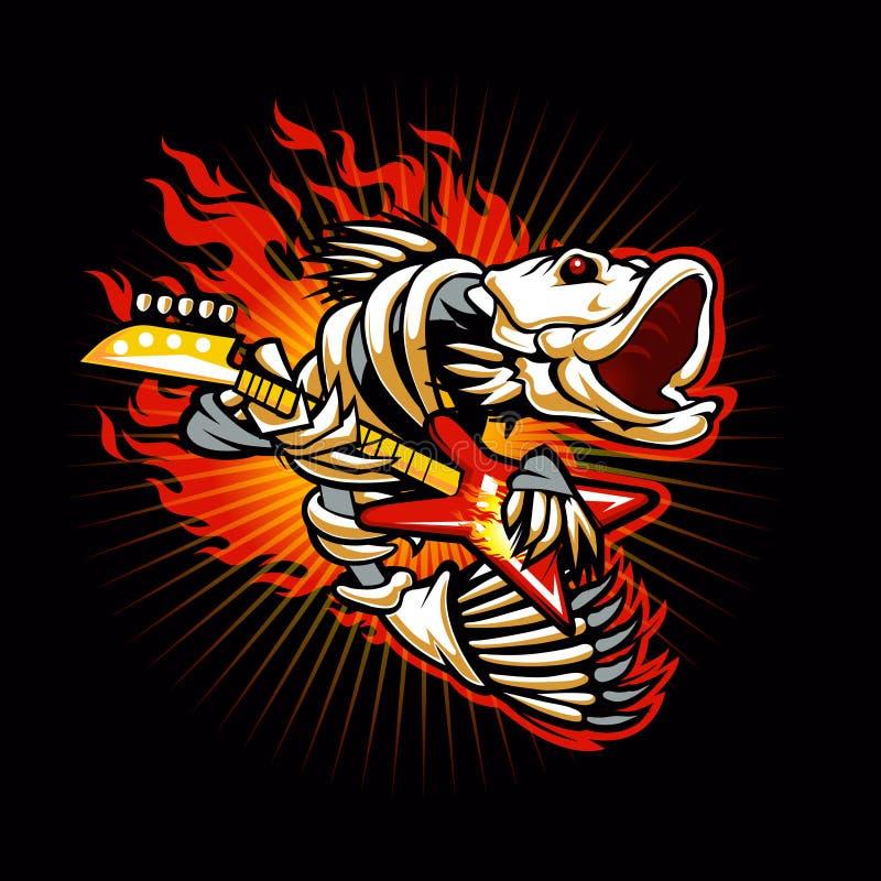 Skelett- flamma för fisk stock illustrationer