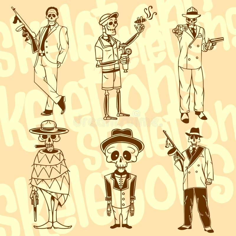 Skelett - gangster vektor för set för tecknad filmhjärtor polar Vinyl-klart royaltyfri illustrationer