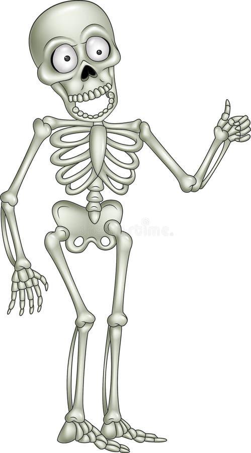 Skelett- geende tumme för tecknad film upp royaltyfri illustrationer