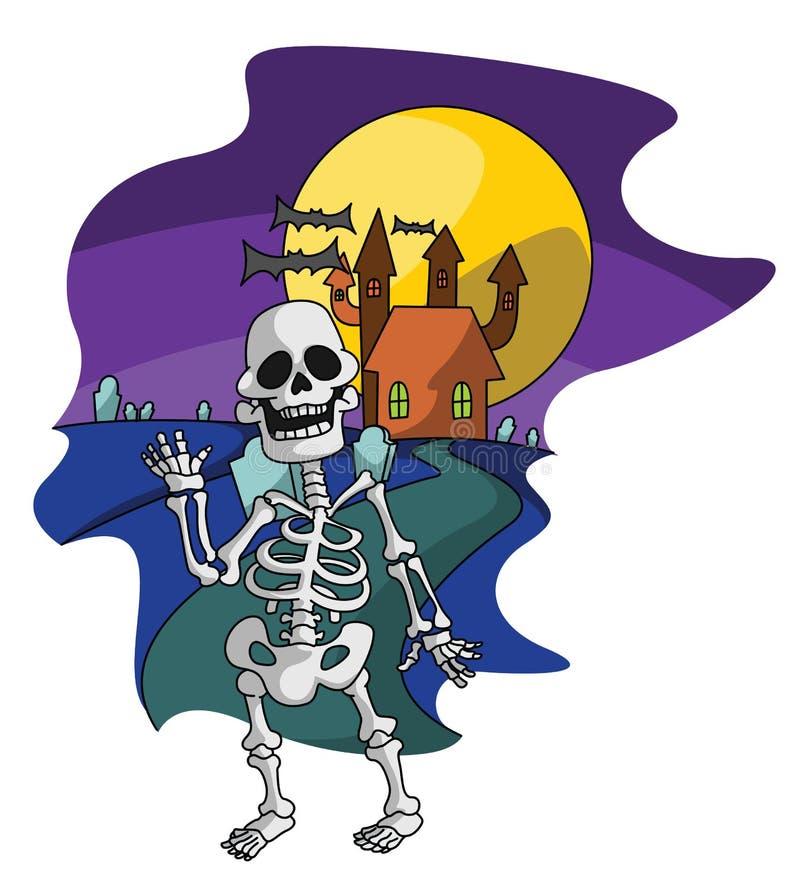 Skelett- Haloween stock illustrationer