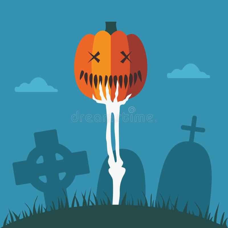 Skelett- hand med allhelgonaaftonpumpa på kyrkogården royaltyfri illustrationer