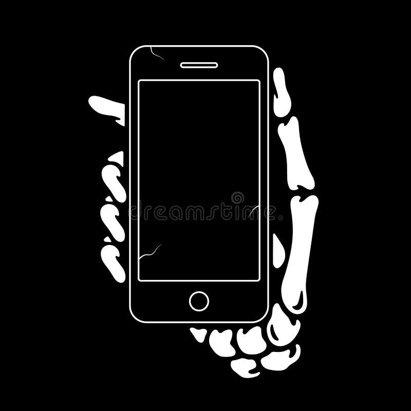 SKELETT- HAND MED DEN SMARTA TELEFONEN royaltyfri illustrationer