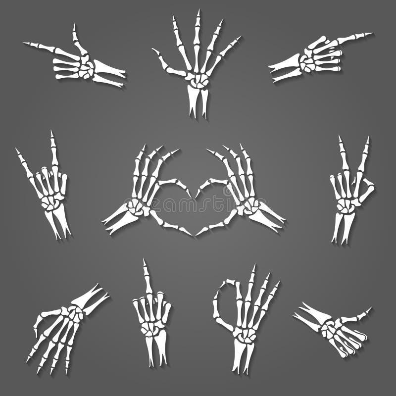 Skelett- handtecken stock illustrationer