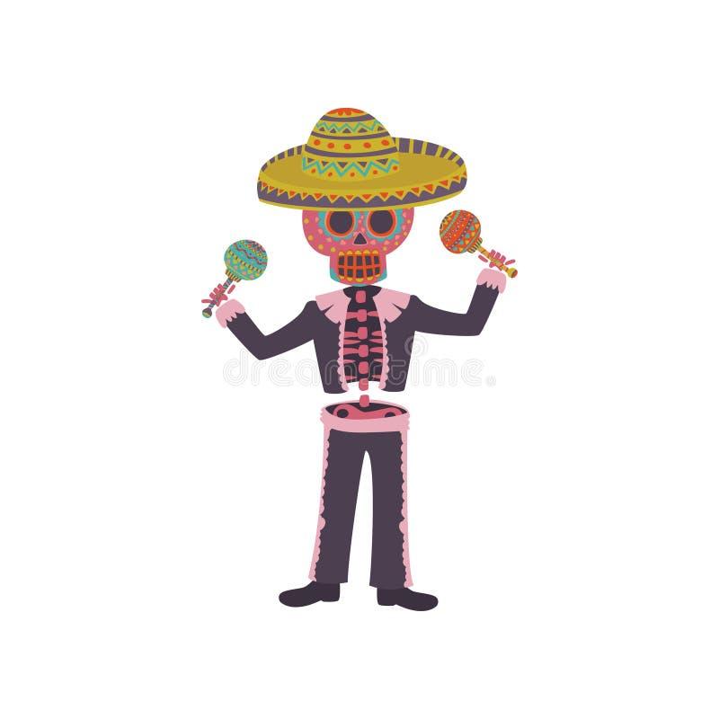 Skelett i den mexicanska nationella dräkten som spelar maracaen, illustration för Dia de Muertos tecknad filmvektor stock illustrationer
