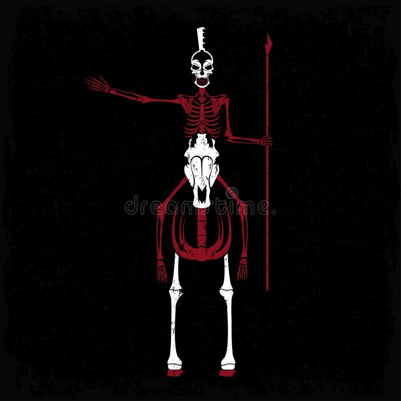 Skelett i spartansk hjälm med spjutet på hästen royaltyfri illustrationer