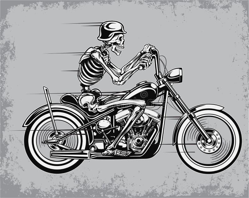 Skelett- illustration för ridningmotorcykelvektor royaltyfri illustrationer