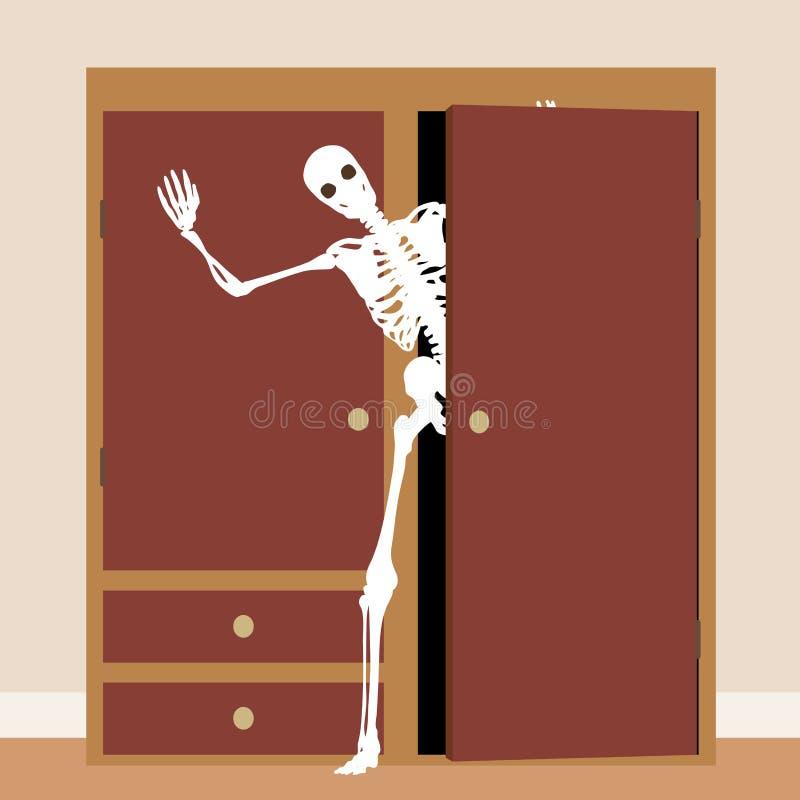 Skelett im Wandschrank lizenzfreie abbildung