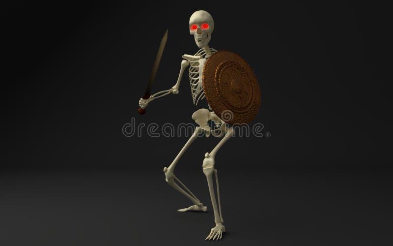 skelett- krigare royaltyfri illustrationer