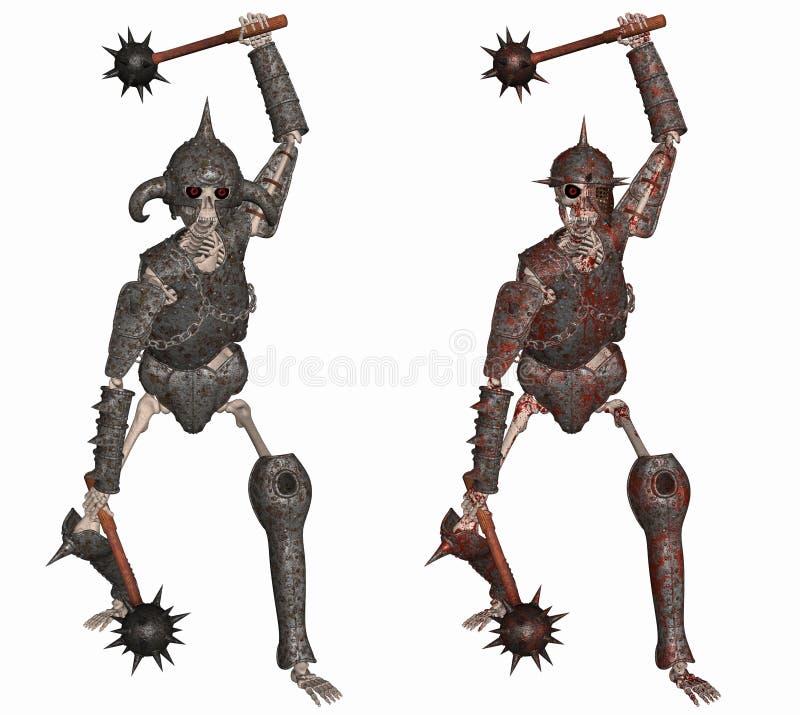 skelett- krigare stock illustrationer
