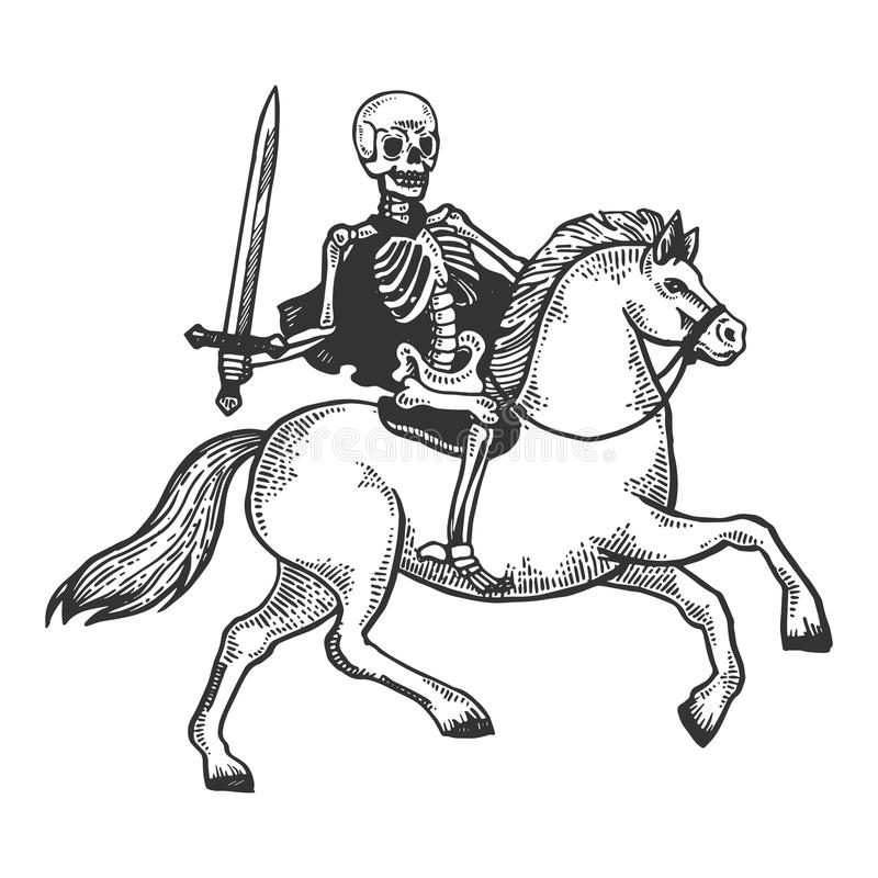 Skelett- krigare på hästgravyrvektor stock illustrationer