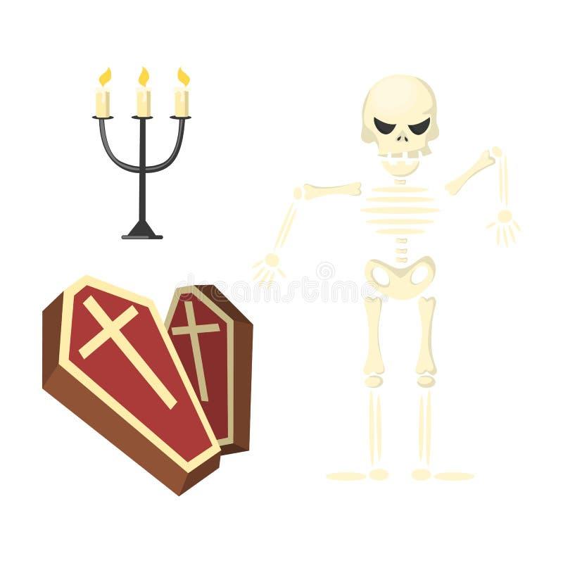 Skelett med kistan vektor illustrationer