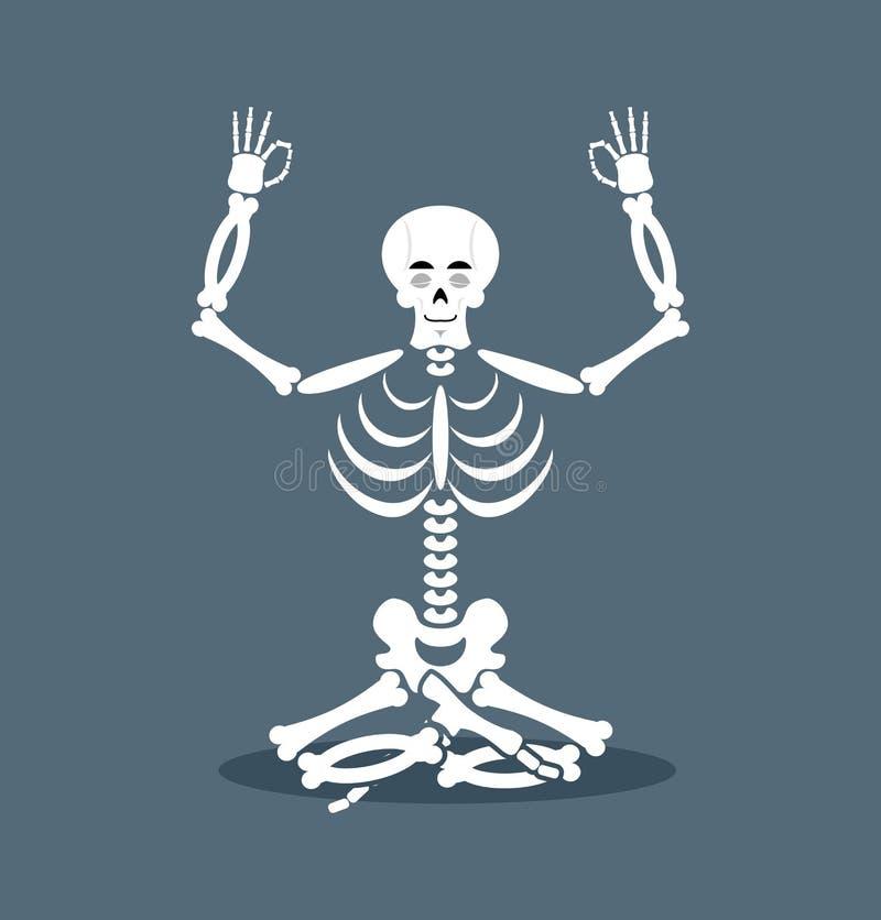 Skelett- meditera Död yoga Status av nirvana royaltyfri illustrationer