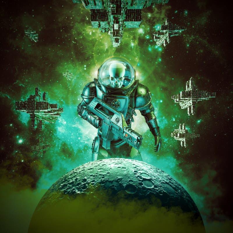 Skelett- militär astronautkrigare vektor illustrationer