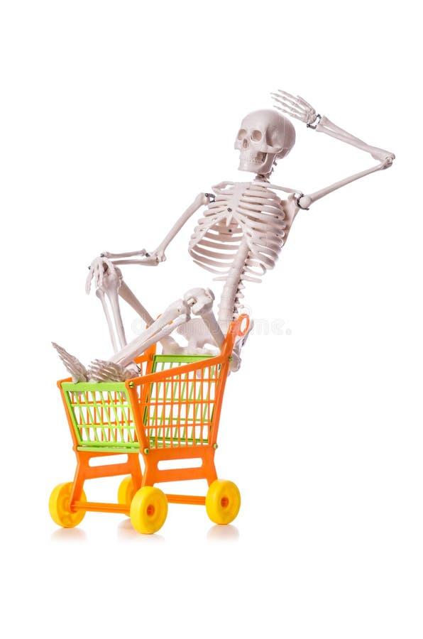 Skelett mit der Warenkorblaufkatze lokalisiert lizenzfreie stockfotos