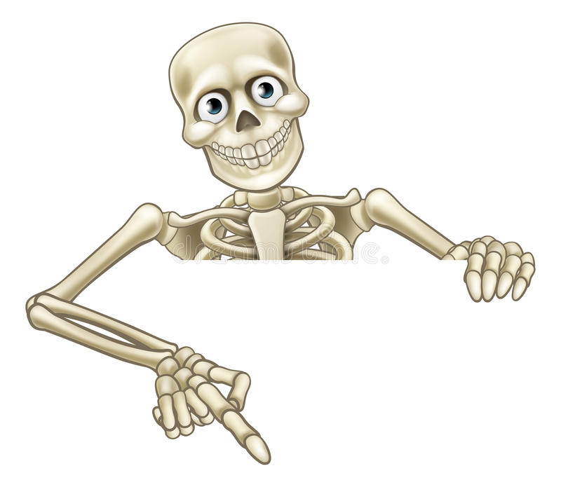 Skelett- peka för tecknad film på tecknet royaltyfri illustrationer