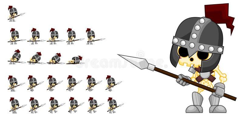 Skelett- riddare Character Sprites vektor illustrationer