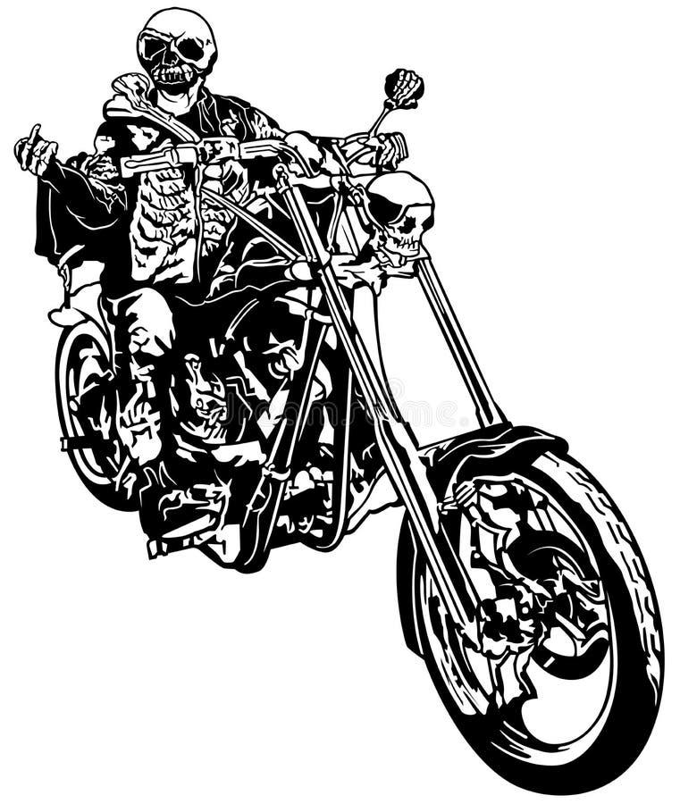 Skelett- Rider On Chopper vektor illustrationer