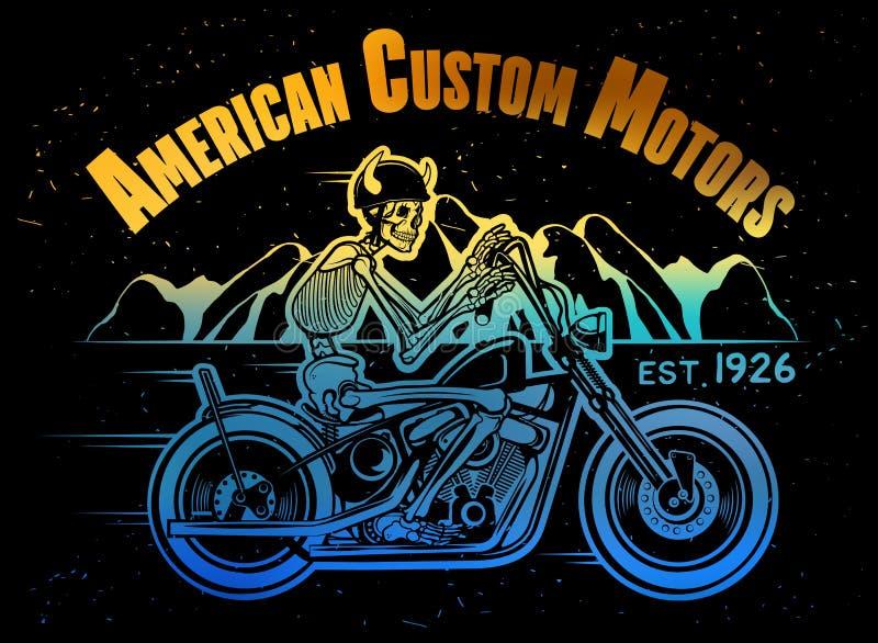 Skelett- Rider Motorcycle vektor illustrationer