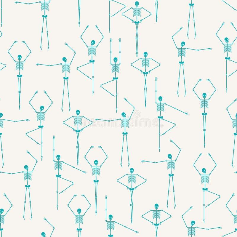 Skelett- sömlös dansmodell Skalle- och bendanstextur stock illustrationer