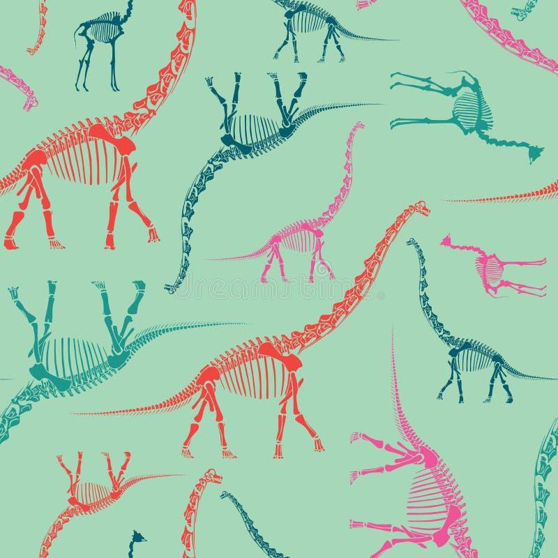 Skelett- sömlös modell för dinosaurie på mintkaramellen Ljus och färgrik tapet stock illustrationer