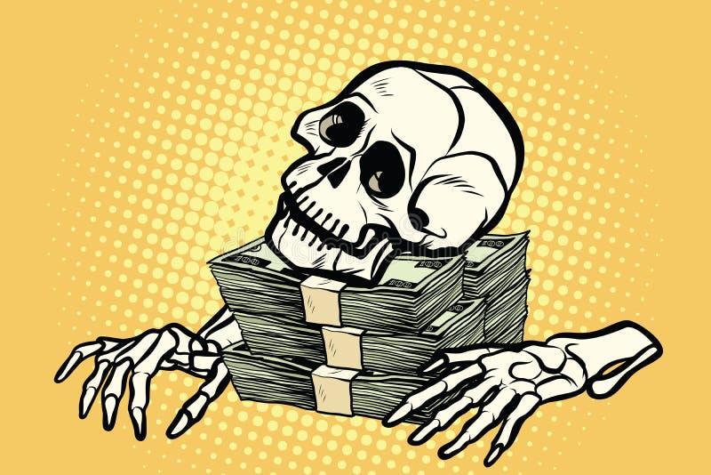 Skelett- skalledollarpengar, rikedom och girighet vektor illustrationer