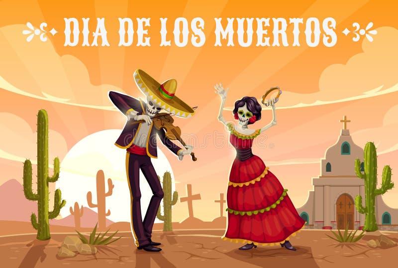 Skelett som dansar p? kyrkog?rd Mexicansk dag av d?da vektor illustrationer