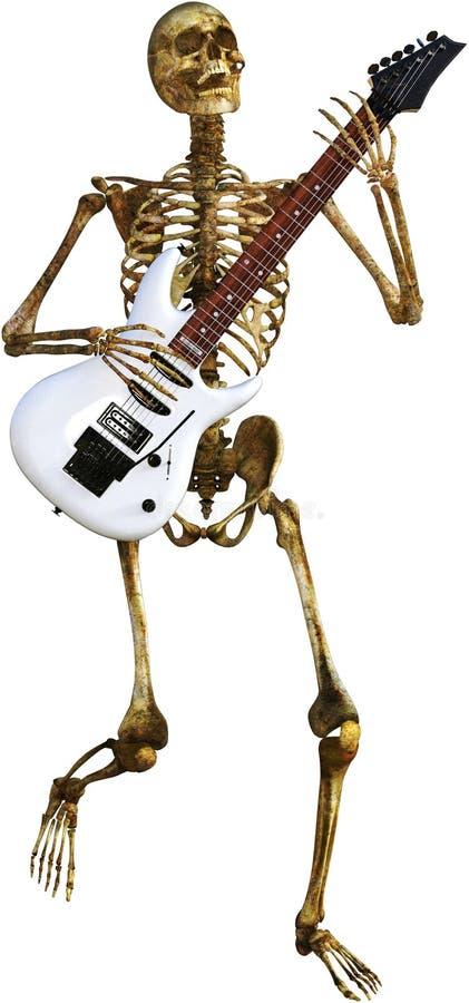 Skelett som spelar den isolerade elektriska gitarren royaltyfria foton