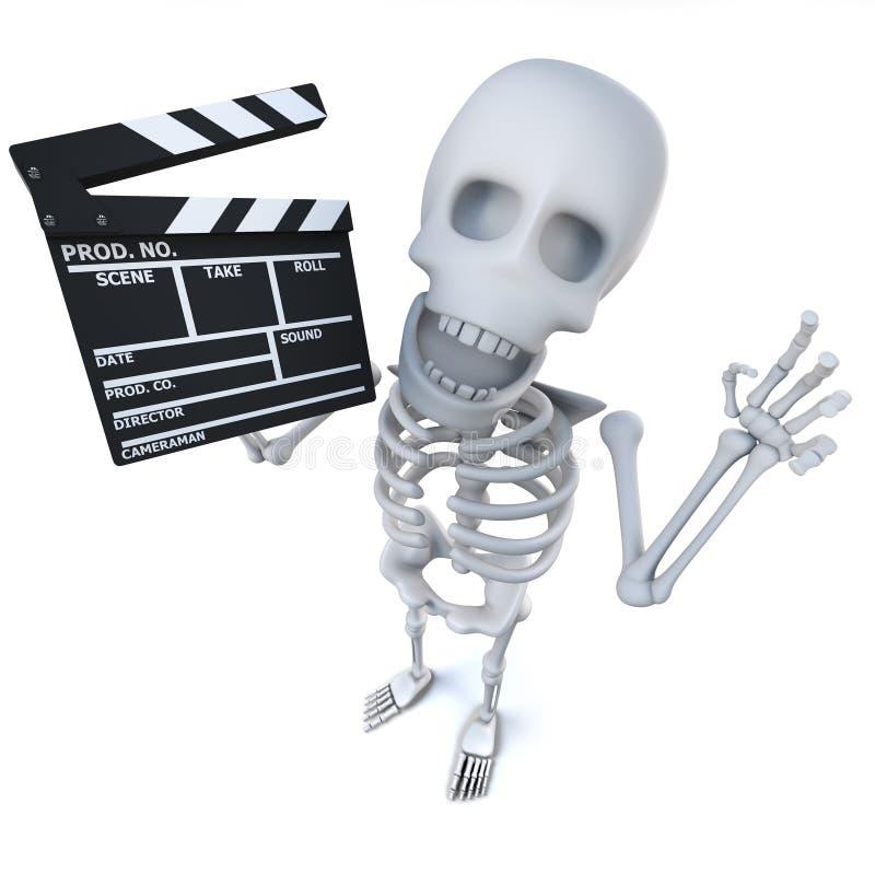 skelett- tecken för rolig tecknad film som 3d maing en film med en clapperboard royaltyfri illustrationer