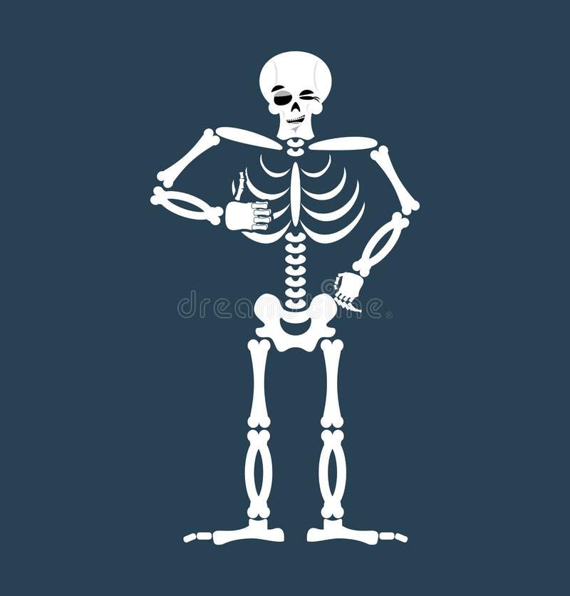 Skelett- tummar up Emoji Den isolerade skallen blinkar sinnesrörelse Människa bo royaltyfri illustrationer