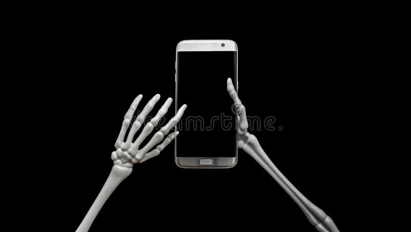 Skelett unter Verwendung des Handys lizenzfreie stockfotos