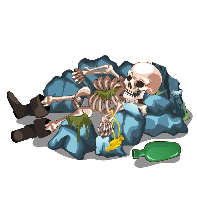 Skelettartige Leiche eines Mannes, der auf den Steinen lokalisiert auf weißem Hintergrund liegt Das Skelett eines Menschen Vektor lizenzfreie abbildung