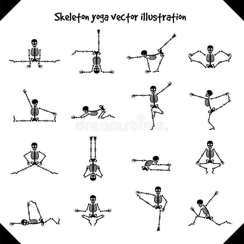 Skelette in den Yogahaltungen lizenzfreie abbildung