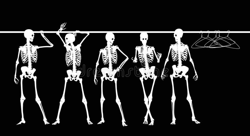 Skelette im Wandschrank vektor abbildung