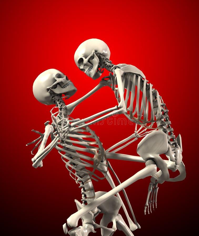 Skeletten die elkaar aanvallen stock illustratie